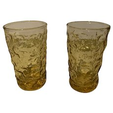 Anchor hocking bumpy amber juice glasses 2