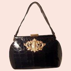 Vintage 1940s French glossy black crocodile handbag