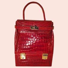 Stunning 1980s italian Sisso red alligator skin handbag
