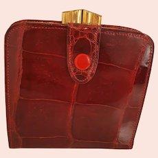 Vintage 1940s red crocodile skin wallet purse