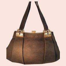 Vintage 1940s black suede handbag