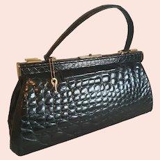 Rare 1930s glossy black juvinille crocodile skin French Gladstone doctors handbag