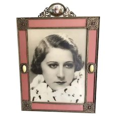 Antique Jeweled Filigree French Gild Bronze picture Frame With Porcelain Plaque