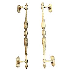 """Pair of Vintage Architectural Salvage Gilded Brass Very Large Door Pull Handles 23"""""""