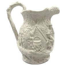 Antique Jones and Walley PARIAN WARE Pitcher - Early Victorian Pottery