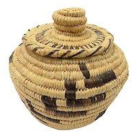 TOHONO O'ODHAM (Papago) Lidded Basket By Sally Juan