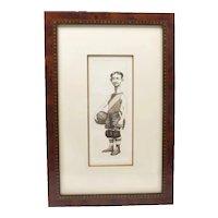 "CHARLES BRAGG Signed Sports Print, 96/150, ""Ernest Dribbler"""