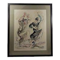 Israeli Artist YOSSI STERN ORIGINAL Vintage Watercolor - Framed Dancing Scene