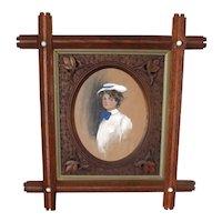 Gibson Girl in Crisscross Frame - ALICE LUELLA FIDLER Lithograph