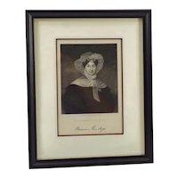 ANTIQUE STEEL ENGRAVING of Marcia Van Ness - Framed Original on Paper