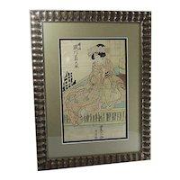 Japanese Geisha by Toyohisa II - ANTIQUE WOODBLOCK Print - Edo Period