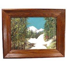 Vintage Oil Painting of White Mountain Pass, Oregon - By BERTHA HATTON DUKE - Indiana Artist