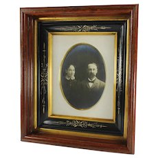 Antique EASTLAKE Picture Frame-Victorian Couple Photo