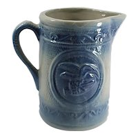 Hull Pottery Company - Blue and White - Antique Pitcher - Eagle Motif