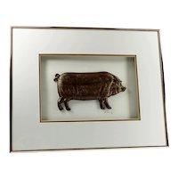 Pottery Wall Art Vintage HARRIS G. STRONG Framed Ceramic Pig
