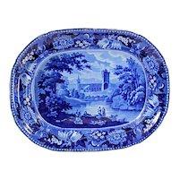 Staffordshire Transferware Antique WILLIAM ADAMS Historical Dark Blue Platter -  Jedburgh Abbey