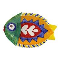Vintage Italian Pottery GIOVANNI DE SIMONE Fish Platter - Signed De Simone Italy 64