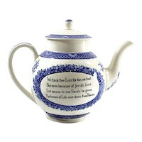 WEDGWOOD Wesley Teapot, Blue and White Transferware