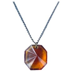 Antique Amber Glass Choker Necklace Art Deco Crystal Point Pendant Brass Chain