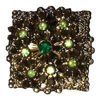 Vintage Green Raised Flower Cluster Brooch