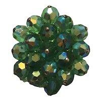 Green Crystal Stacked Starburst Brooch