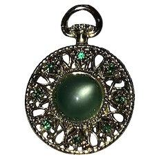 Vintage Gerry's Green Pocket Watch Brooch