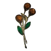 Gorgeous Glass Flower Brooch
