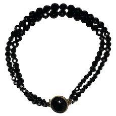 Gorgeous Double Strand Black Glass Beaded Choker