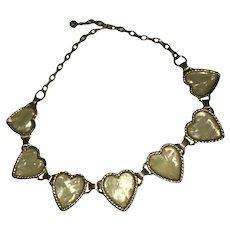 Vintage MOP Heart Choker Necklace