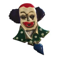 Creepy Enamel Clown Brooch