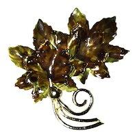 Vintage Coro Enamel Leaf Brooch