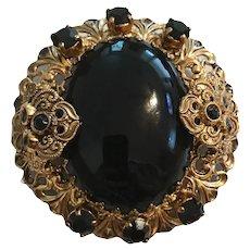 Gorgeous Vintage Black Glass Mourning Brooch