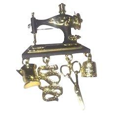 Vintage Danecraft Sewing Machine Brooch