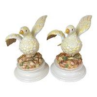 1960's Vintage Italian Ceramic Pottery Bird Figurines- a Pair