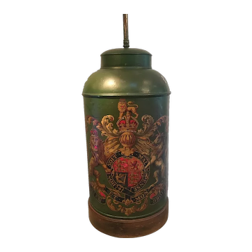 Antique Tole Armorial Tea Canister Lamp
