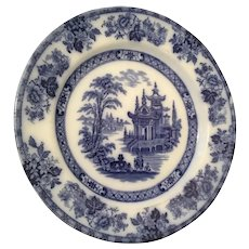 Doulton Burslem Flow Blue & White Madras Pagoda Plate