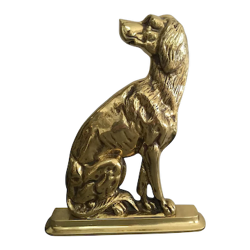 Vintage Mid-Century Harvin Brass Dog Doorstop