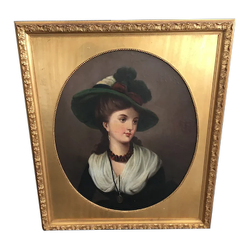 19th Century Portrait of Young Lady by W. Herman