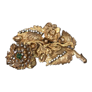 Large Exquisite Vintage MIRIAM HASKELL Russian Gilt Rhinestone Pin Brooch