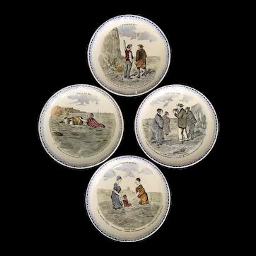 Vintage French Creil et Montereau Bains de Mer Transferware Plates
