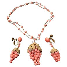 Antique Victorian Silver Gilt Coral / Faux Coral Grape Cluster Necklace and Earrings Set