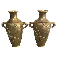 Pair Early 20th Century Japanese Meiji Bronze Bamboo Vases