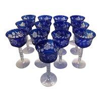 Vintage Set of Cobalt Blue Cut Glass Wine Goblets