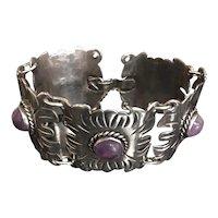 Vintage Spratling Style Mexican Silver & Amethyst Link Bracelet