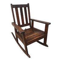 Antique Stickley Style Mission Oak Child's Rocking Chair