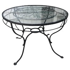 Vintage Salterini Style Neoclassical Glass Top Wrought Iron Garden Table