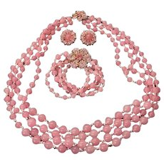 Stunning Vintage MIRIAM HASKELL Pink Glass Bead and Rhinestone 3 pc Parure / Set