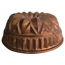 Antique Tin Lined Copper Jelly / Cake Mold