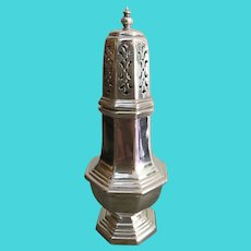 Fine English Octagonal Baluster Form Sugar Caster
