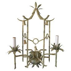 Vintage Tole Faux Bamboo Pagoda Sconce W/ Bells